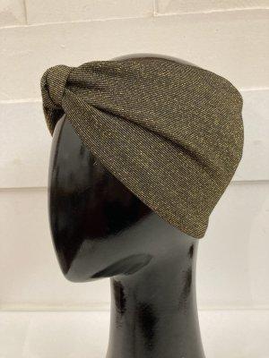 Chapeau en tissu noir-doré