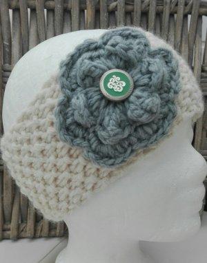 Handmade Knitted Hat light grey-natural white
