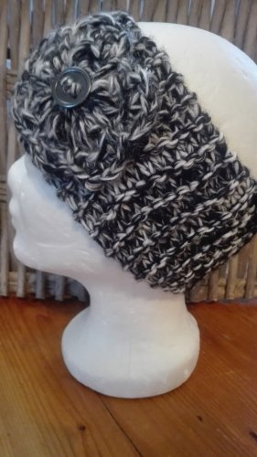 Handarbeit Cappello a maglia nero-grigio