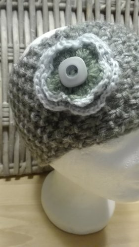 Handarbeit Sombrero de punto gris claro-gris verdoso