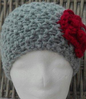 Handmade Sombrero de punto gris-rojo oscuro