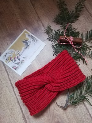 Handmade Cache-oreilles rouge brique mohair