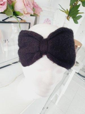 Stirnband schleife schwarz wolle
