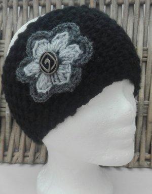 Handarbeit Chapeau en tricot noir-gris clair