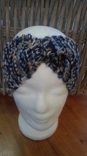 Handarbeit Sombrero de punto marrón claro-azul oscuro