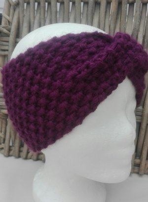 Handarbeit Chapeau en tricot violet-violet foncé