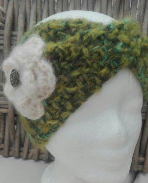 Handarbeit Chapeau en tricot blanc cassé-vert