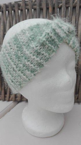 Handarbeit Chapeau en tricot blanc cassé-gris vert