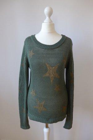 Stitch & Soul Pulli Pullover dunkelgrün Khaki Stern gold Gr. 36 S (M)