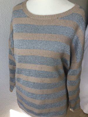 Mango Sweter z okrągłym dekoltem kremowy-srebrny