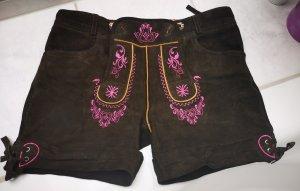Stockerpoint Pantalone tradizionale marrone scuro-rosa Pelle