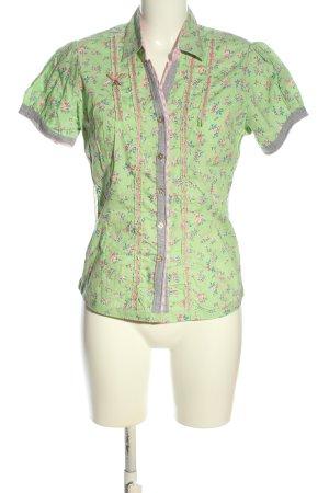 Stockerpoint Hemd-Bluse grün-pink Allover-Druck Business-Look
