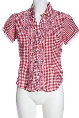 Stockerpoint Camicia a maniche corte rosso-bianco stampa integrale stile casual