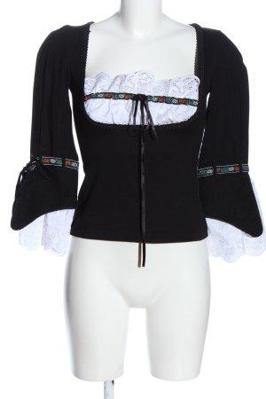 Stockerpoint Langarm-Bluse schwarz-weiß Casual-Look