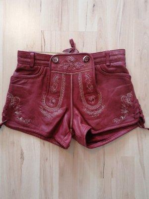Stockerpoint Pantalone in pelle tradizionale rosso scuro-bordeaux