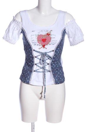 Stockerpoint Schlupf-Bluse weiß-blau Motivdruck Casual-Look