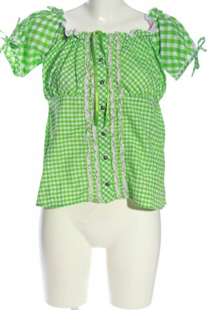 Stockerpoint Blusa folclórica verde-blanco look casual