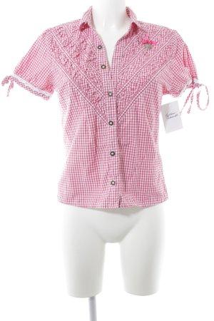 Stockerpoint Folkloristische hemd magenta-wit geruite print