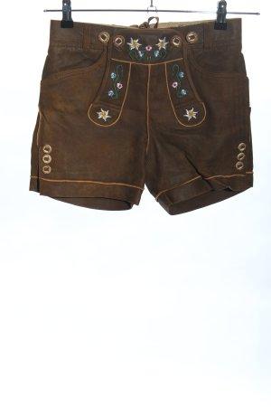 Stockerpoint Pantalone in pelle tradizionale marrone motivo floreale