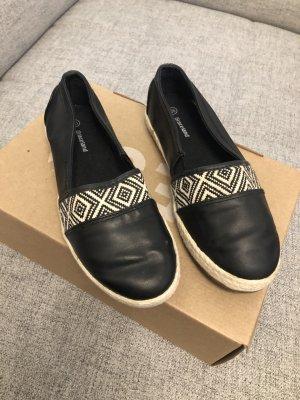 Stoff / Leder-Optik Loafers