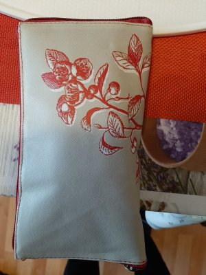 Canvas Bag light grey-brick red