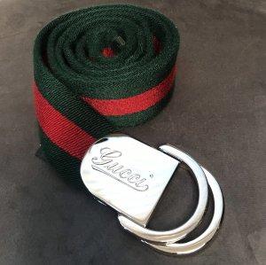 Gucci Cinturón de tela rojo-verde