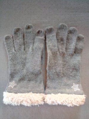 Aqua Knitted Gloves grey-natural white