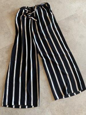 Pieces Falda pantalón de pernera ancha blanco-negro tejido mezclado