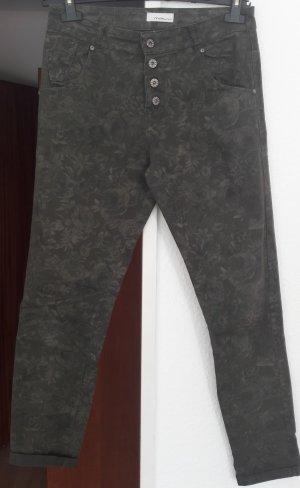 Stoffhose bedruckt khaki