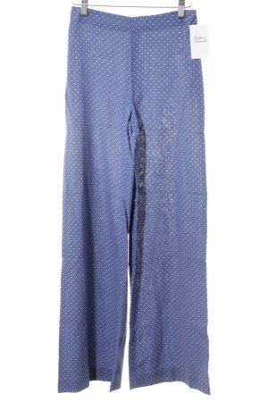 Stoffhose kornblumenblau-weiß Punktemuster Casual-Look