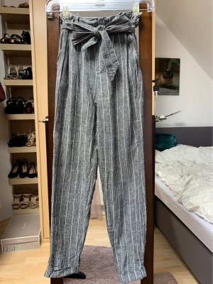 Bershka Pantalon en lin gris clair-gris