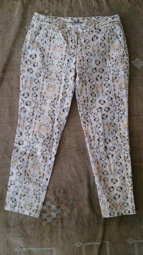 Adolfo Dominguez Pantalon 7/8 blanc cassé-noir coton