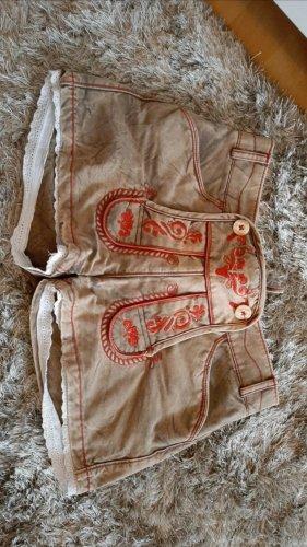 Krüger Pantalone in pelle tradizionale marrone chiaro
