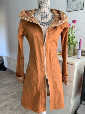 Stoffrausch Mantel - Midilänge - Tailliert - Camel/Rosa - Flower - Größe S 34