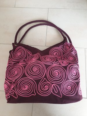 Torebka materiałowa różowy-ciemny fiolet