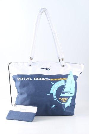 Stofftasche blau-weiß Motivdruck Casual-Look