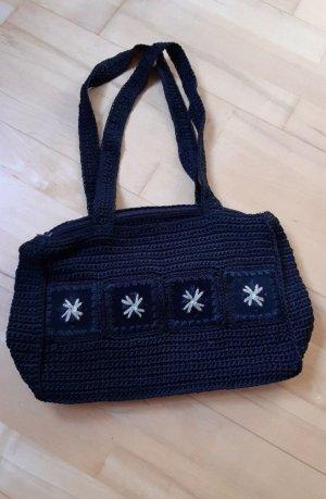 Stofftasche gehäkelt schwarz Tasche