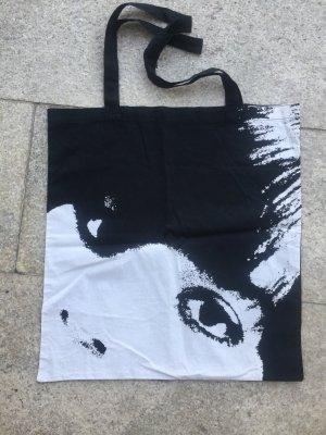 H&M Divided Canvas Bag black-white cotton