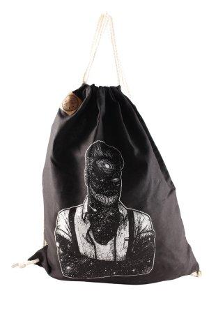 Stofftasche schwarz-weiß Motivdruck Logo-Applikation aus Leder