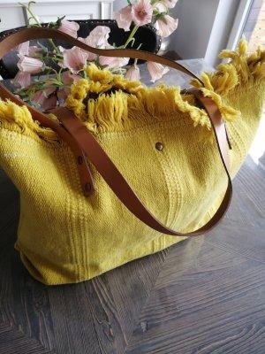 Bolso de tela beige-amarillo