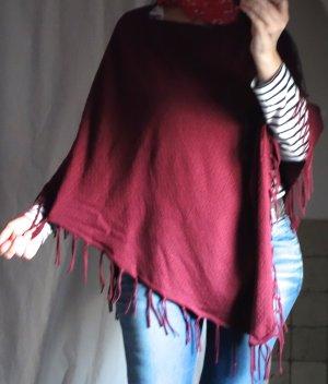 Poncho in maglia carminio-bordeaux Viscosa
