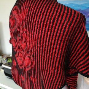 Stola Tuch Schal rot/schwarz