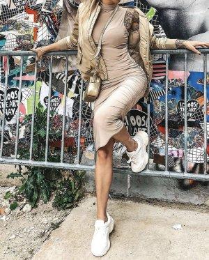 Stone Slinky High Neck Sleeveless Bodycon Midi Dress