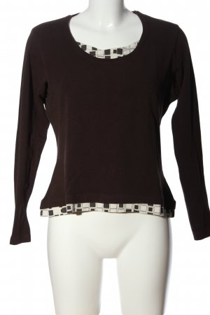 Stooker Longsleeve braun-weiß grafisches Muster Casual-Look