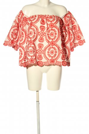 Storets Carmen-Bluse rot-creme grafisches Muster Casual-Look