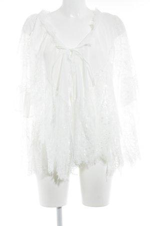 Storets Kimono-Bluse weiß Spitzenbesatz