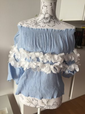 Storets Off-Shoulder Bluse hellblau weiß Blumen Gr. M/L wie neu