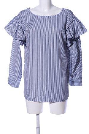 Storets Oversized Bluse blau-weiß Allover-Druck Business-Look