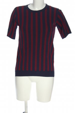 Storm & Marie Short Sleeved Blouse blue-red striped pattern casual look