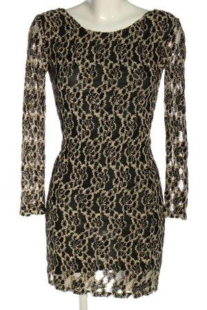 Storm & Marie Longsleeve Dress black-cream abstract pattern elegant
